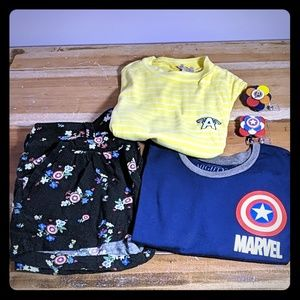 Bundle of Marvel Juniors size small tops & shorts